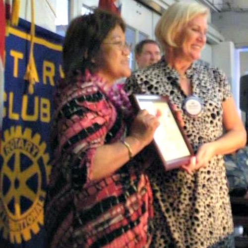 Charlene Mizumoto and Jan Reischel accepting the award on behalf of HAIP