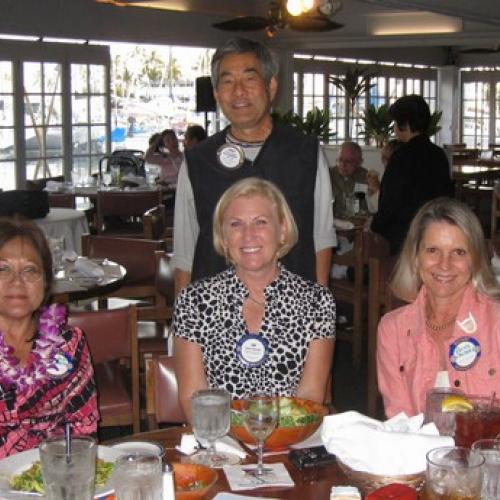 Charlene Mizumoto, Jan Reischel, Byrde Cestare (Friends of the Library), and standing Jerry Taniyama