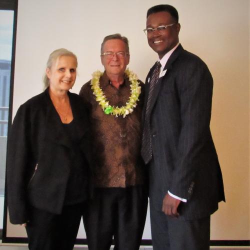 President, Preston Jones and Programs Chair, Katharine Nohr with James Newberry