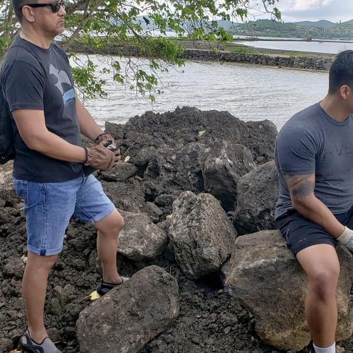 Rocks to be moved manually across the inlet