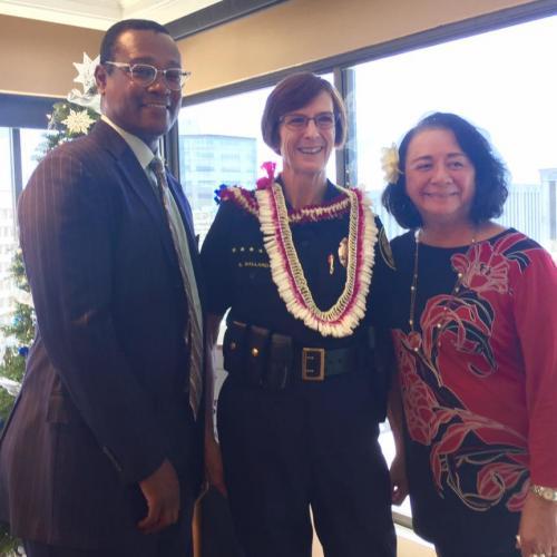 President Jones and Membership Chair Margo with Chief Ballard